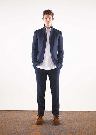 Wool jacquard shawl collar jacket