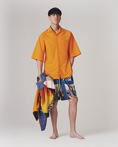 Custom dyed orange cotton bowling shirt