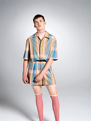 Oversized check wool rompersuit